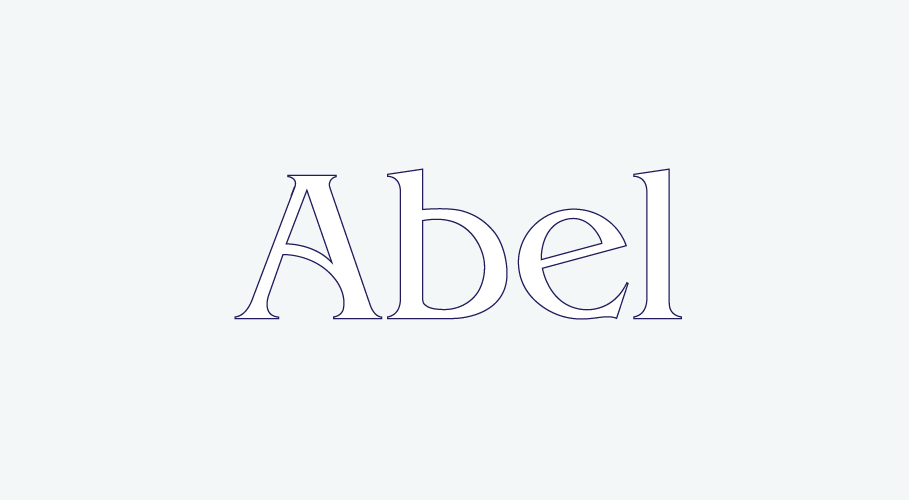 Abel namestyle with blue stroke outline