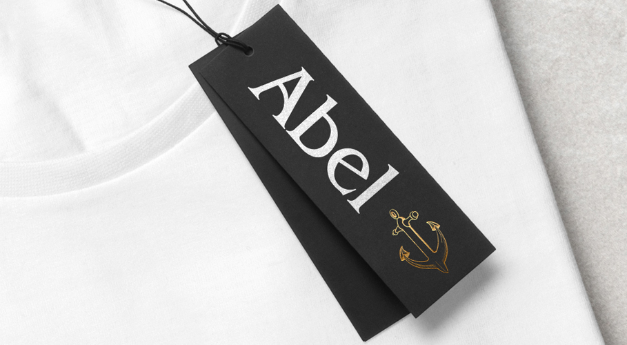 Abel clothes tag on t-shirt