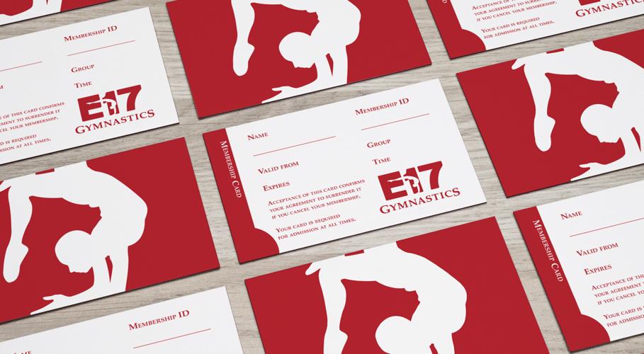 E17 Gymnastics membership cards