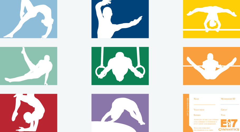 E17 Gymnastics educational member cards