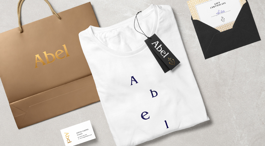 Abel branded products with business card
