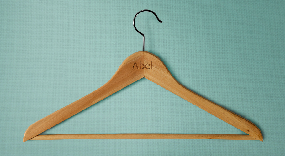 Abel branded wooden clothes hanger