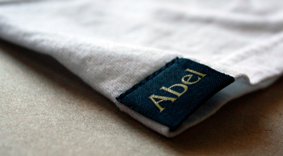 Abel t-shirt clothing tag with gold namestyle