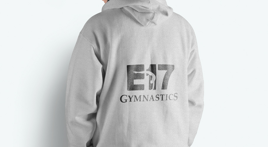 E17 Gymnastics Club boys hoodie back with branding