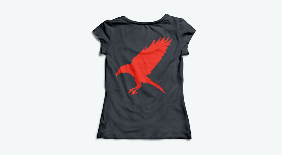 Red Ravens t-shirt back facing