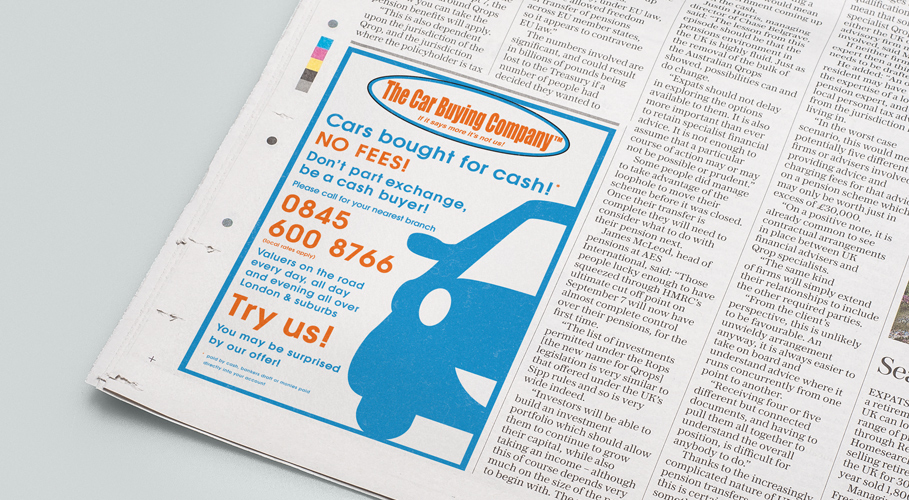 The Car Buying Company newspaper advert