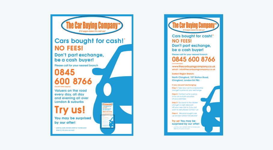 The Car Buying Company poster and leaflet concepts