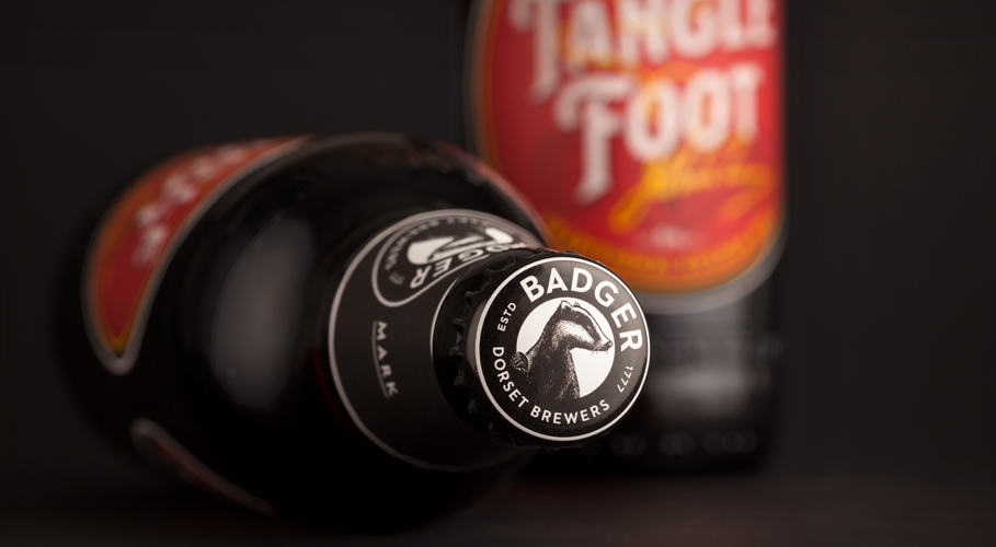 Badger, bottle top