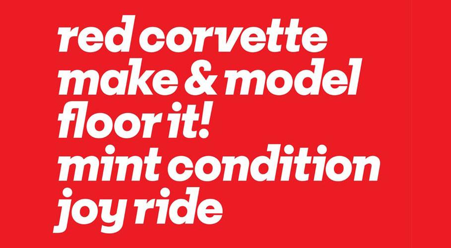 Vroom, typeface2